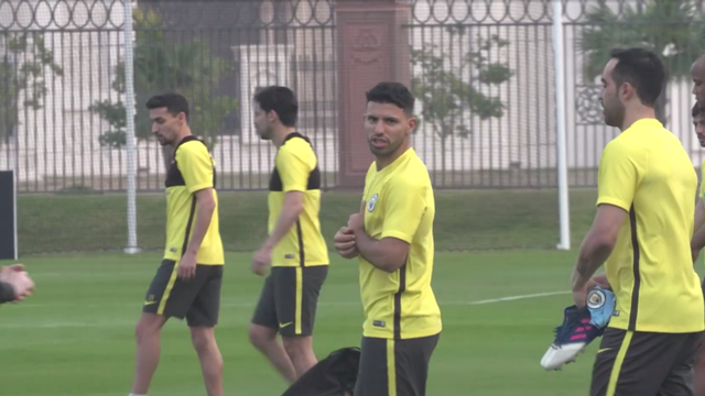 HEY SERGIO: Aguero looks down the lens during training in Abu Dhabi