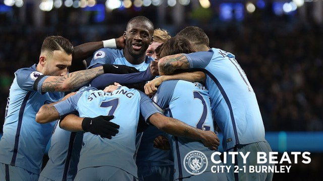 GROUP HUG: City celebrate during the 2-1 Premier League victory over Burnley