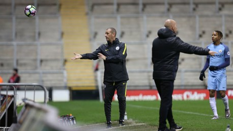 IN CHARGE: Simon Davies looks composed on the touchline during City's victory over Manchester United