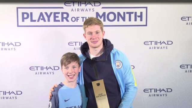 KEVIN DE BRUYNE: Belgian is presented with his Etihad Player of the Month award by Dillon