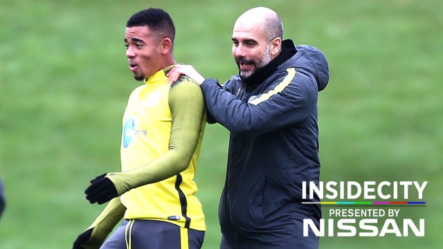 PEP AND JESUS: Gabriel arrived this week and joined in Manchester City training immediately