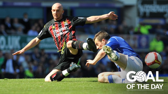 SUPERMAN: Stephen Ireland netted an excellent goal to hand Man City a 2-0 lead at Everton in 2009