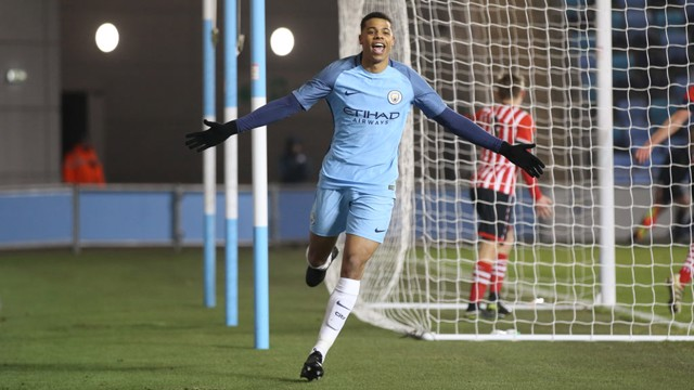 LETHAL: Lukas Nmecha scored his fourth goal of this year's FA Youth Cup competition in the victory over Southampton