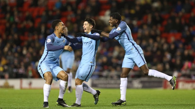FINALLY: Manchester City celebrate after Brahim Diaz eventually finds a way past Joel Pereira in the Manchester United goal