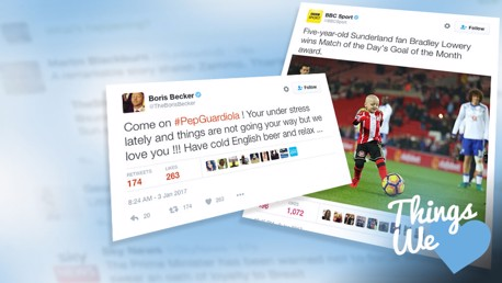 THINGS WE LOVE: Boris Becker and Bradley Lowery star in our first round-up of the internet of 2017.