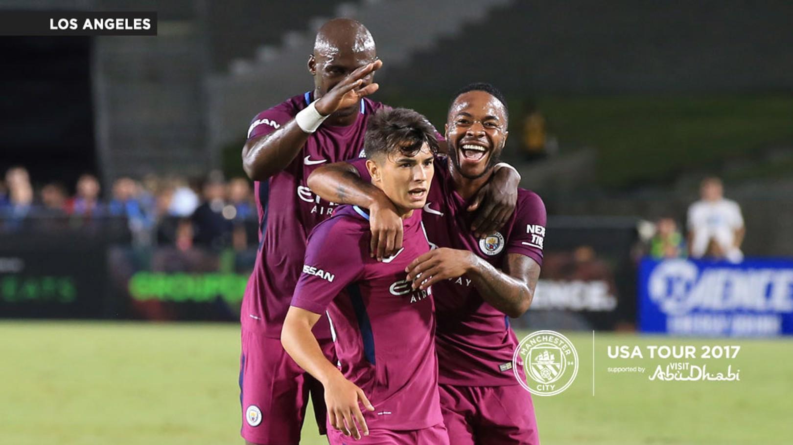 BRAHIM THUNDERBOLT: Diaz celebrates with Eliaquim Mangala and Raheem Sterling