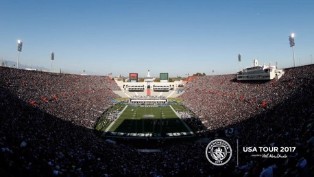 THE COLISEUM: Pep Guardiola's side will face Real Madrid in LA in the second game of the US tour.