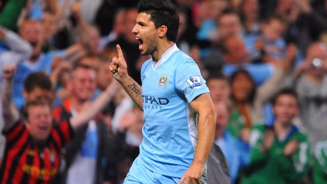 DREAM DEBUT: Aguero got off to a flyer in a Blue shirt