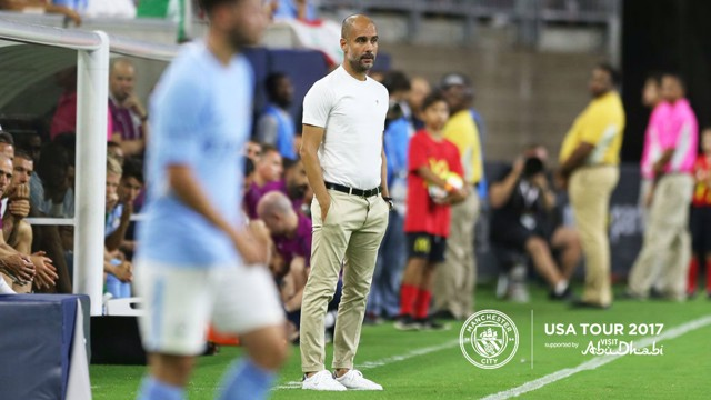 PEP TALK: The boss was impressed with his new signings in the 2-0 defeat to Manchester United in Houston