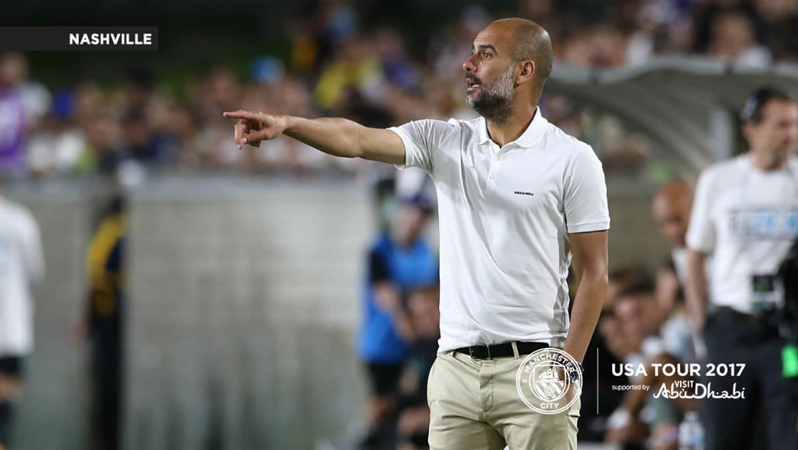 CALLING THE TUNE IN NASHVILLE: Pep Guardiola, along with John Stones, faced the press on Friday in Tennessee