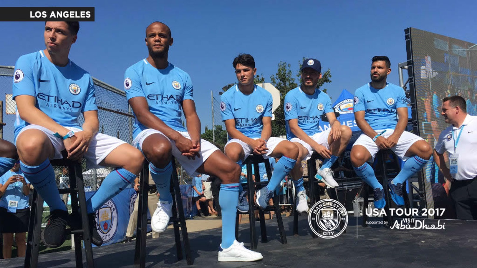 BLUE SKY THINKING: Samir Nasri, Vincent Kompany, Brahim Diaz, David Silva and Sergio Aguero at the Soccer Festival in east LA