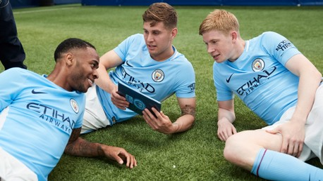APPY DAYS: Kevin De Bruyne and John Stones try out the new SkillCity app!