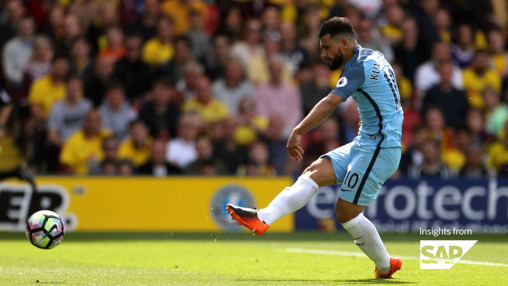 3b61e652b98 PRECISION STRIKE  Sergio Aguero scores against Watford on the final day of  the season