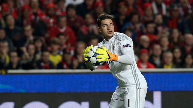 TESTING THE ARM: Ederson gets ready to release a long throw for Benfica.