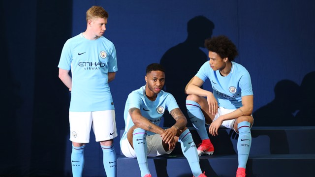 THREE MUSKETEERS: Kevin De Bruyne, Leroy Sané and Raheem Sterling model our new home kit