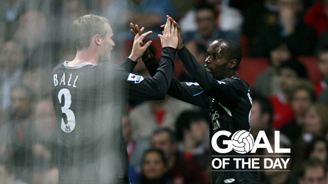 BEASLEY: City's American winger celebrates with Michael Ball after his goal at the Emirates Stadium