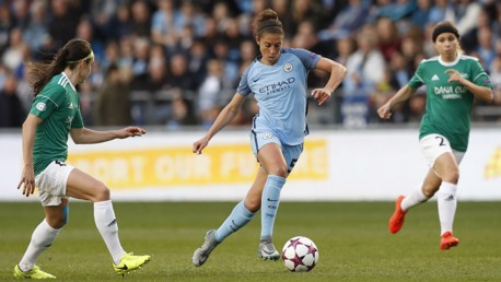LLOYD: City's American midfielder creates an opening in the Fortuna Hjorring defence