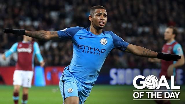 GABRIEL JESUS: Celebrates his goal against the Hammers