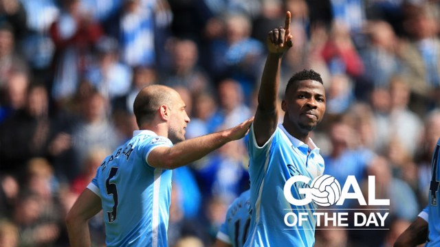 COMPOSED: Kelechi was calmness personified to net his second and City's fourth against Stoke in April 2016.