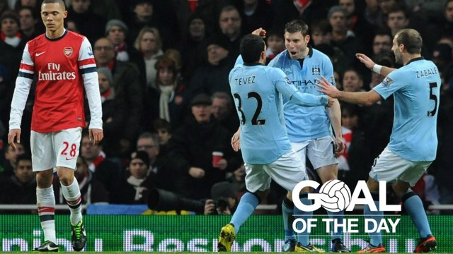 PING: James Milner celebrates scoring against Arsenal in 2013.