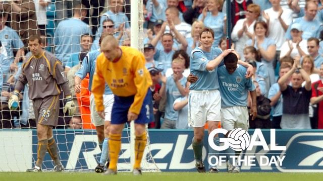 FIVE STAR: Shaun Wright-Phillips celebrates City's fifth in a 5-1 over Everton.