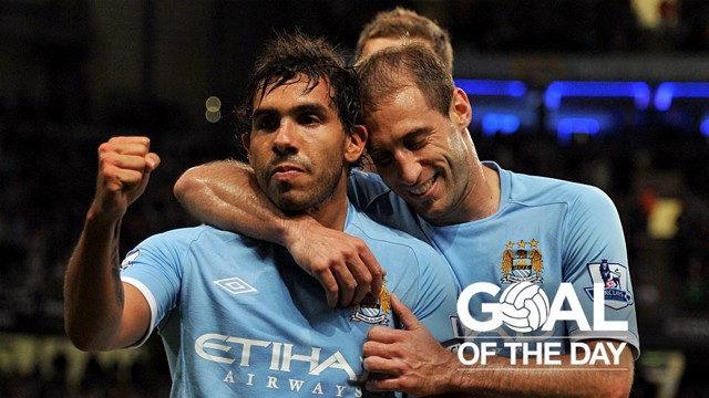 SUPER STRIKE: Carlos Tevez netted a beauty against the Potters