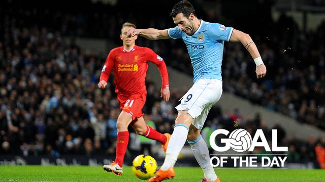 GOAL OF THE DAY: Alvaro Negredo scored this lovely effort against Liverpool at the Etihad Stadium in December 2013.