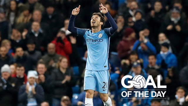 LOOKING UP: David Silva celebrates his strike against Watford in December 2016