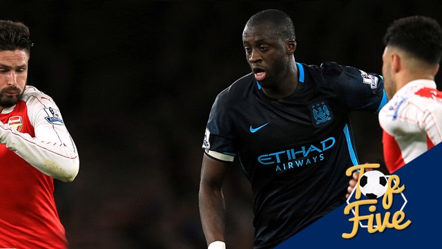 TOP FIVE: Yaya Toure has played a key role in matches against Arsenal in the past