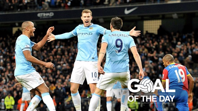 SOARING: Edin Dzeko scored to give City a 1-0 win over the Eagles in December 2013.