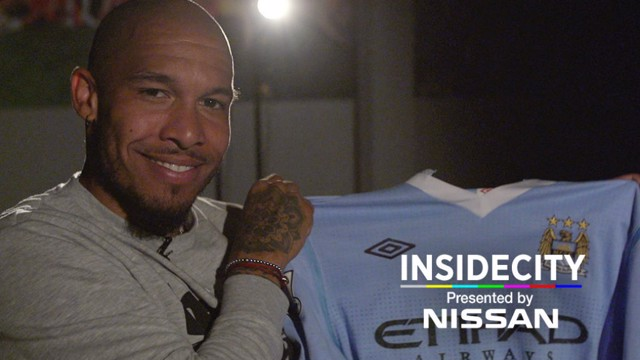 INSIDE CITY 243: Nigel de Jong poses with the famous shirt from 2012