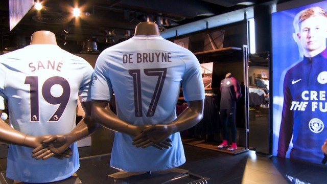 IN STORE: The new Manchester City kit.