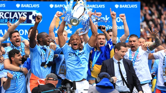 LIFTING THE TROPHY: 2013/14 Premier League champions