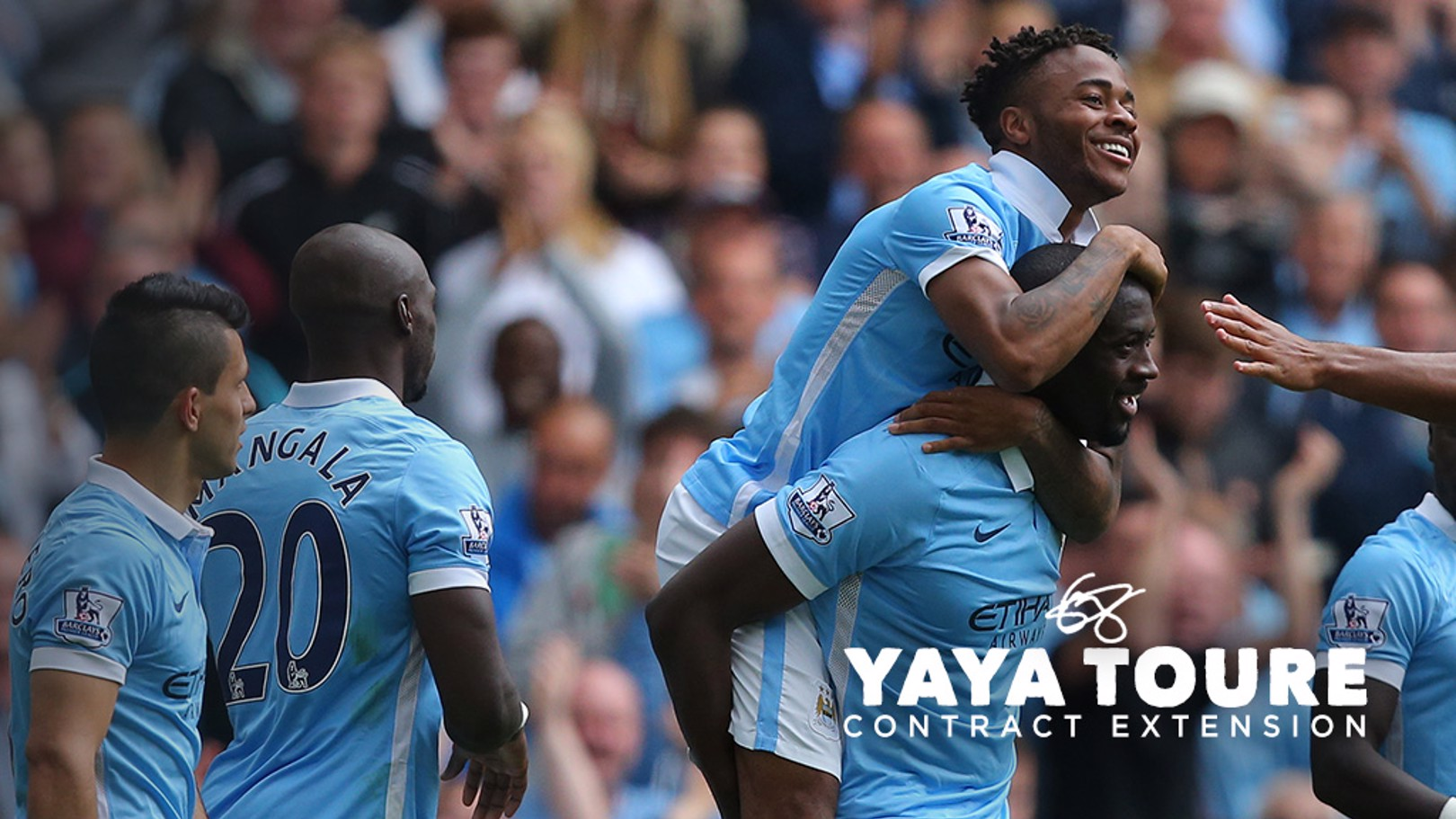 BLUE BOYS: Raheem Sterling says he is learning a lot from Yaya Toure