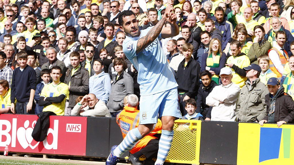 TEE TIME: Carlos Tevez's famous golf swing celebration