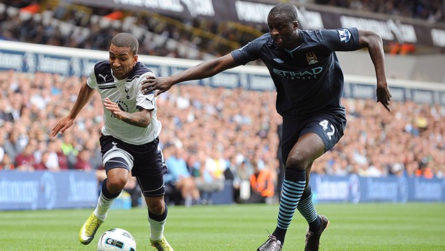 FIRST APPEARANCE: The Ivorian makes his City debut against Spurs in August 2010.