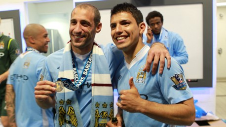ARGENTINIAN BLUES: Pablo Zabaleta and Sergio Aguero pose with their Premier League winners' medals in 2012