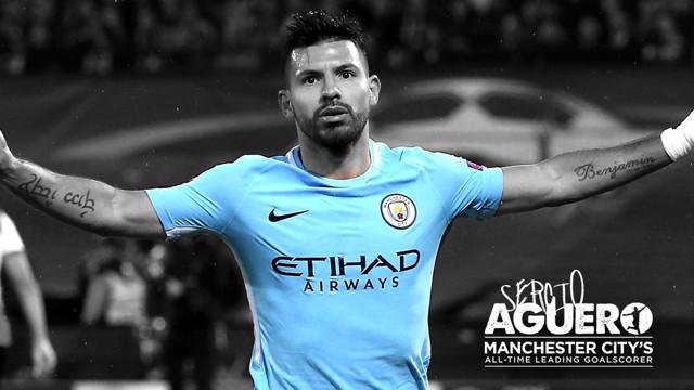RECORD BREAKER: Sergio Aguero scored his 178th goal for Man City against Napoli.