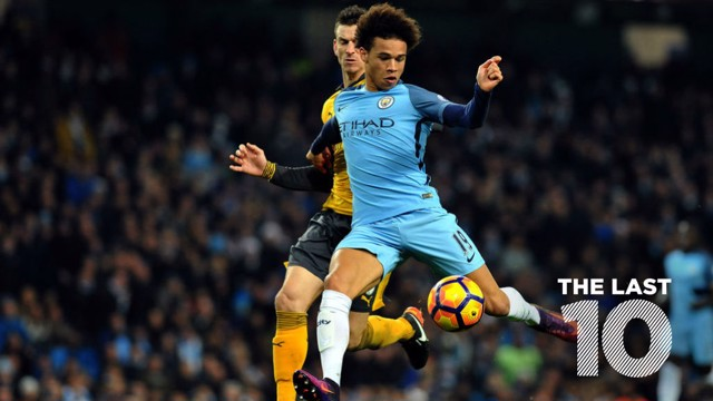 LAST 10: Leroy Sane scored the equaliser against the Gunners at the Etihad last December.