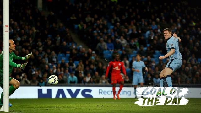STRIKE: James Milner scores against Leicester in 2015.