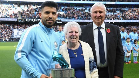 KING KUN: Sergio presented with awards from Eric Brook's daughter and MIke Summerbee