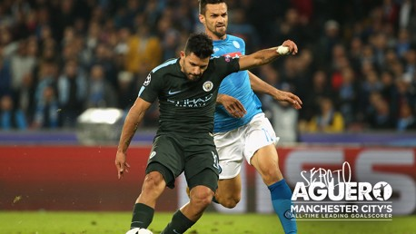 THE SHOT: The shot that earner Sergio Aguero the title of City's all-time leading goal-scorer