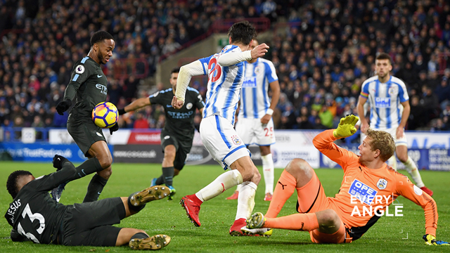 RIGHT PLACE, RIGHT TIME: Raheem Sterling netted late on to snatch all three points for City against Huddersfield