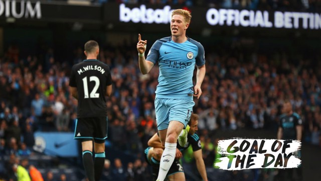 ONE TOUCH: Kevin De Bruyne hit a fine first time effort against West Brom in April 2017.