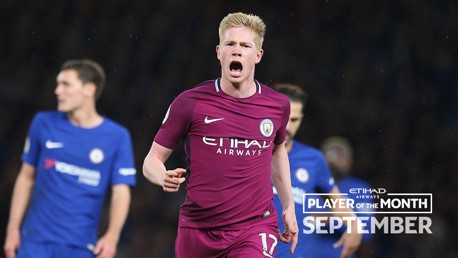 STAR MAN: Kevin De Bruyne has been named the Etihad Player of the Month for September