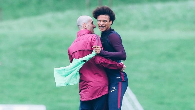 BROTHERS IN ARMS: Leroy during training this afternoon