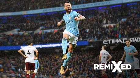 HEAD IN THE GAME: Nicolas Otamendi's bullet header secured City's second goal against Burnley.
