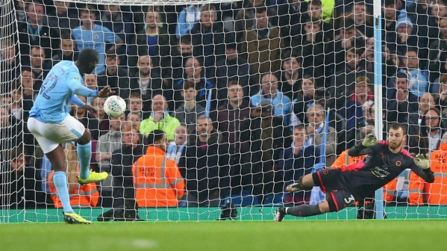 PERFECT PEN: Toure scores in the Wolves shoot-out