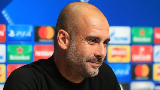 PEP TALK: Pep Guardiola addresses the media ahead of clash v Napoli.