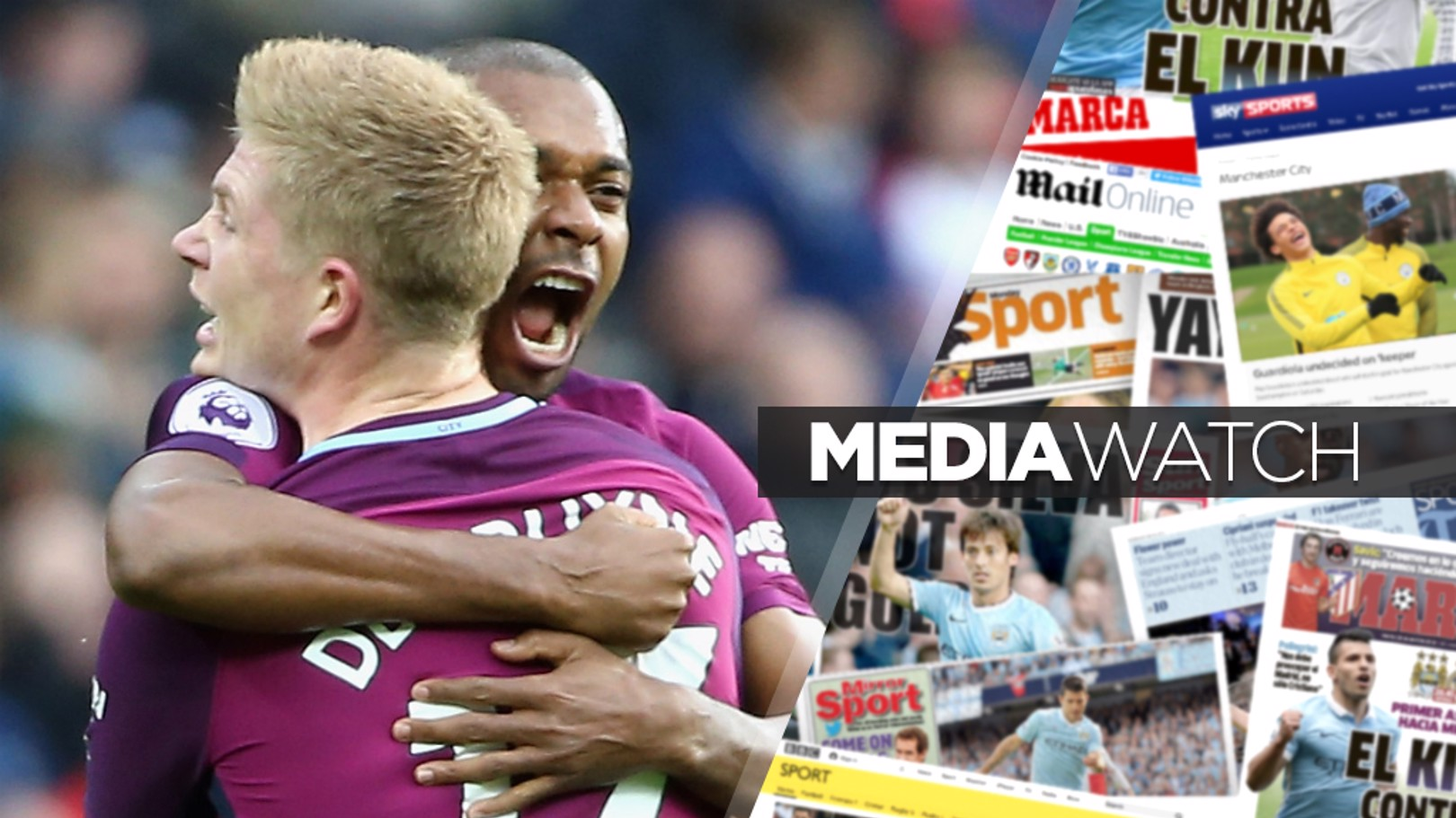 KEY MEN: Kevin De Bruyne congratulates Fernandinho on his strike